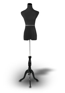 "Black Female Mannequin Dress Form Size 2-4 Small 35"" 24"" 33"" (On Black Tripod Stand) - FitsByDesign"