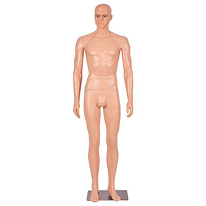 Giantex 6 FT Male Mannequin Make-up Manikin Metal Stand Plastic Full Body Realistic - FitsByDesign