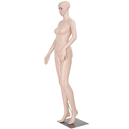 Giantex Plastic Realistic Display Head Turns Dress Form w/ Base Female Mannequin - FitsByDesign