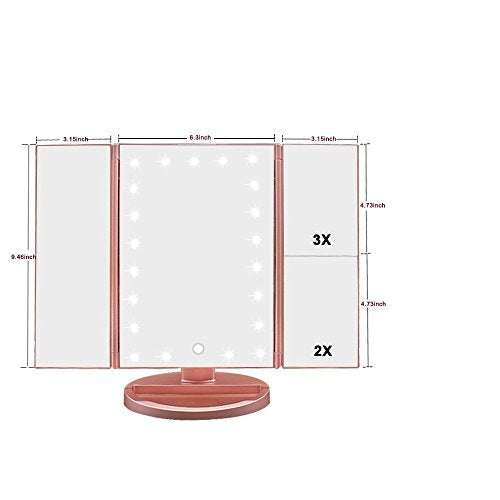Tri-Fold Lighted Vanity Makeup Mirror with 21 LED Lights - FitsByDesign