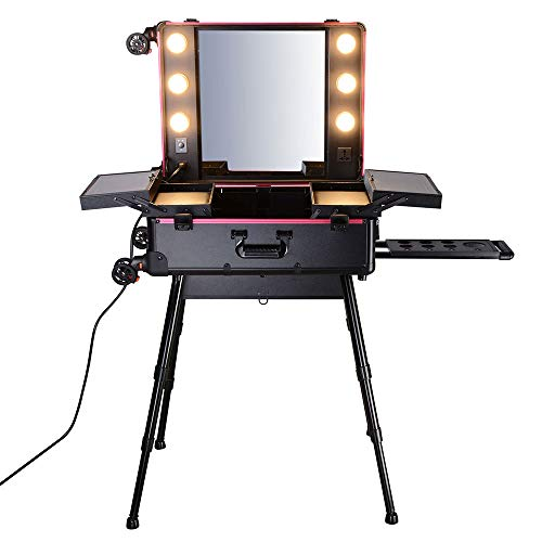 AW Rolling Makeup Case with LED Light Mirror Adjustable Legs - FitsByDesign