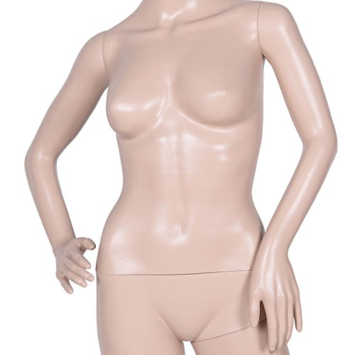 Giantex Plastic Female Mannequin Realistic Head Turns Dress Form Display Full w/ Base - FitsByDesign