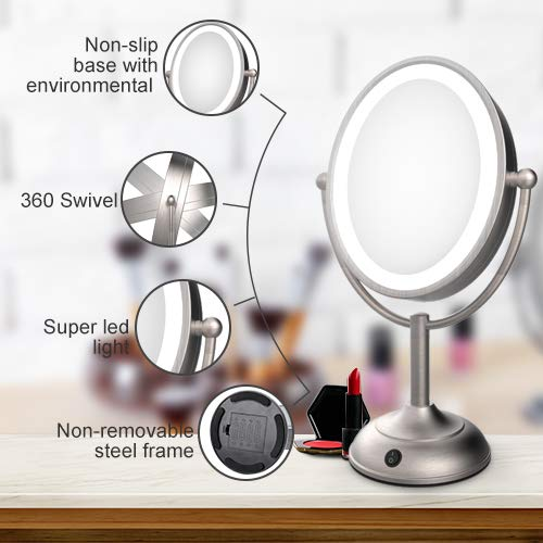 Lighted Makeup Mirror LED Vanity Mirror with 1x/5x Magnifying, 360° Rotation Double Sided - FitsByDesign