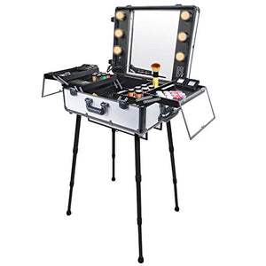 SHANY Studio To Go Makeup Case with Light Pro Makeup Station, Off White - FitsByDesign