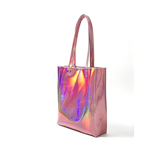 Amily Holographic PU Leather Tote (Pink) - FitsByDesign