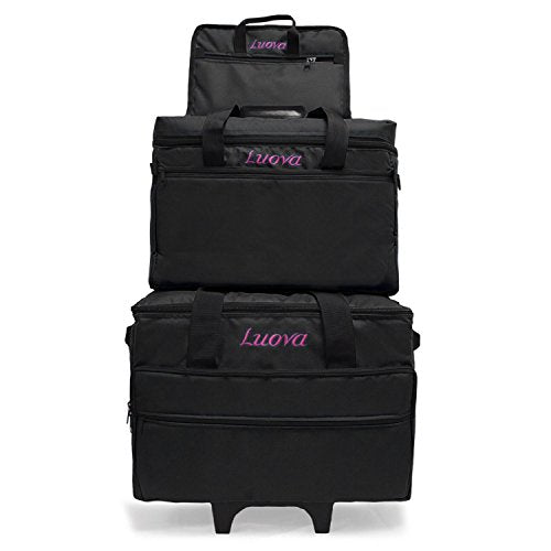 "Luova 19"" 3 Piece Rolling Sewing Machine Trolley Set in Black - FitsByDesign"
