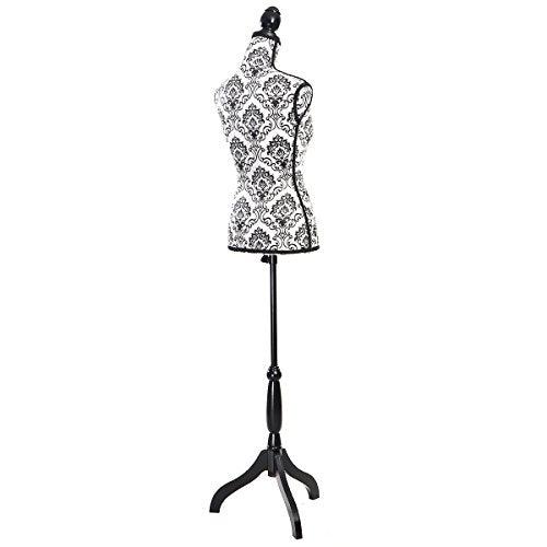 Giantex Female Mannequin Torso Dress Form Display W/ Black Tripod Stand (Black flower) - FitsByDesign