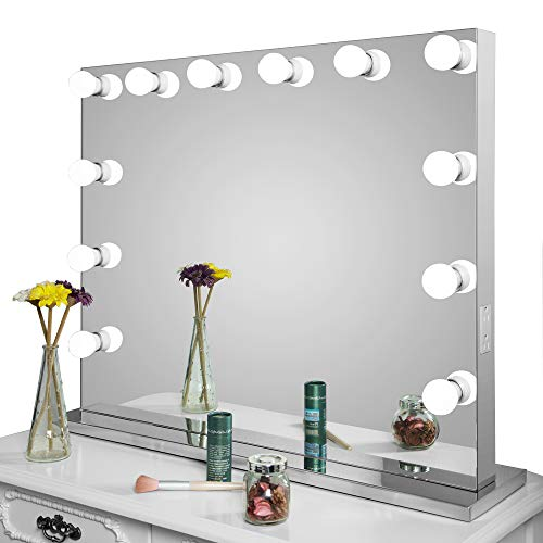Frameless Vanity Mirror w/ Light Hollywood Makeup Lighted Mirror w/Dimmer - FitsByDesign