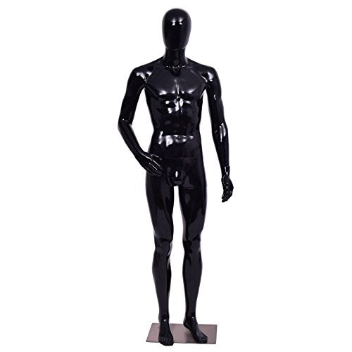 Giantex Male Mannequin Full Body Dress Form Display Plastic Egg Head High Gloss (Black) - FitsByDesign