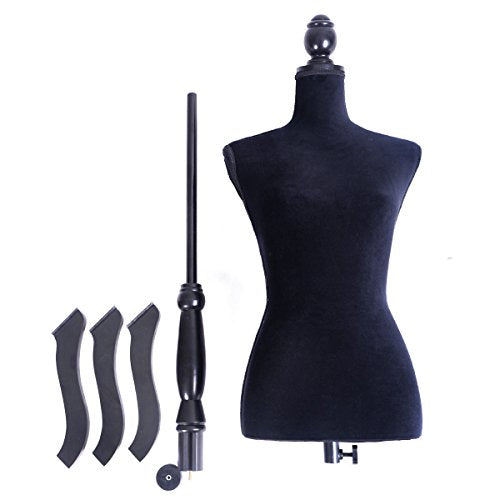 JAXPETY Female Mannequin Torso Clothing Display W/ Black Tripod Stand New Black - FitsByDesign