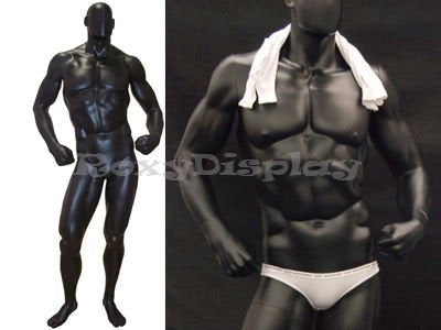 MD-MANB Muscular Male Mannequin Satin Black Color Fiberglass - FitsByDesign