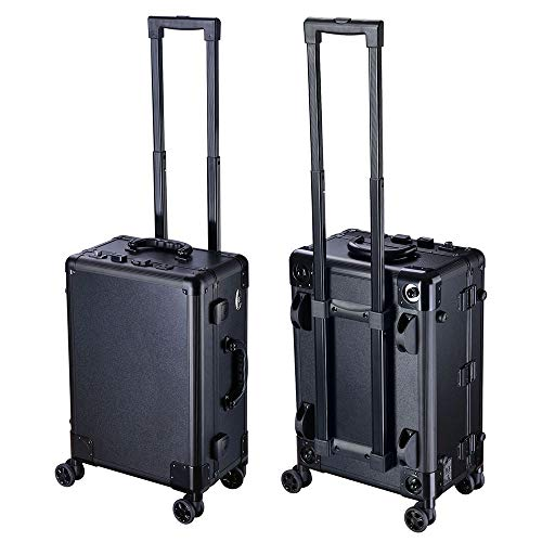Rolling Makeup Case LED Light Mirror Adjustable Legs - FitsByDesign