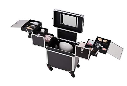 Makeup Case - Professional Rolling Cosmetic Beauty Storage With Mirror and Folding Trays Black - FitsByDesign