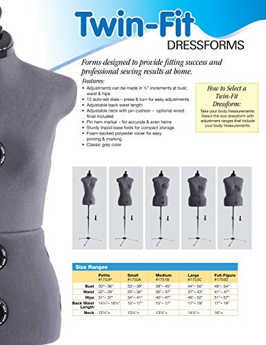 Dritz Twin-Fit Dress Form, Full Figure - FitsByDesign