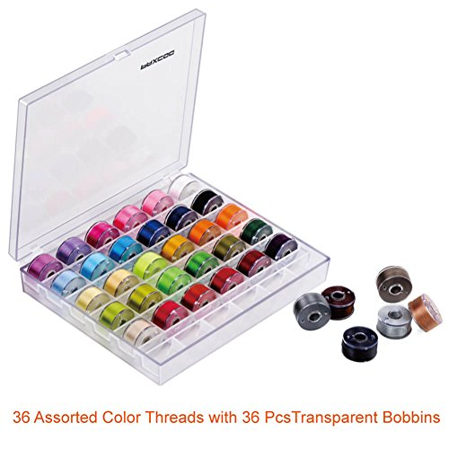 Paxcoo 36 Pcs Bobbins and Sewing Threads,  30Pcs Sewing Needles, Scissors and Measuring Tape - FitsByDesign