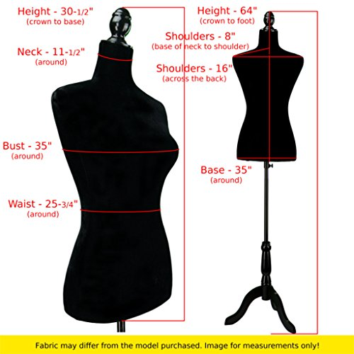 Black Female Velour-Like fabric Mannequin Dress Form (On Black Tripod Stand) - FitsByDesign
