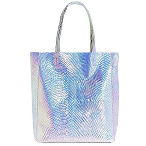 Mily Hologram Tote Bag Laser PU Shoulder Bag for Women (Silver Snakeskin) - FitsByDesign
