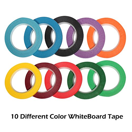 "Selizo 10 Pieces 1/8"" Whiteboard Dry Erase Graphic Art Tape, 10 Colors - FitsByDesign"