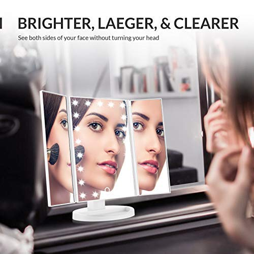 Easehold Led Lighted Vanity Mirror Make Up Tri-Fold with 38Pcs - FitsByDesign