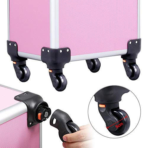 Yaheetech Aluminum Portable Cosmetic Beauty Hairdressing Makeup Box Case Storage Trolley Pink - FitsByDesign