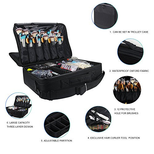 Professional Makeup Train Case Cosmetic Bag Brush Organizer & Storage - FitsByDesign