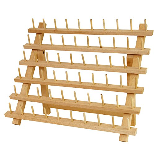 US Art Supply Premium Beechwood 60-Spool Sewing & Embroidery Thread Rack - FitsByDesign
