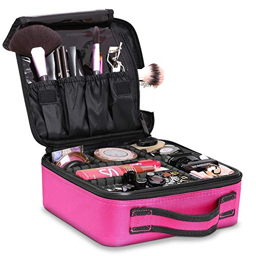 TOPSEFU Portable Travel Makeup Bag Makeup Case Mini Makeup Train Case Pink - FitsByDesign