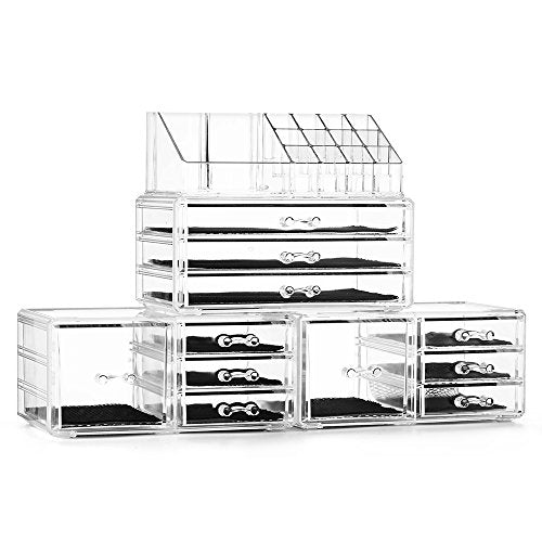 Felicite Home Acrylic Jewelry and Cosmetic Storage Boxes Makeup Organizer Set, 4 Piece - FitsByDesign
