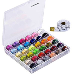 Paxcoo 36 Pcs Bobbins and Sewing Threads with Case and Soft Measuring Tape - FitsByDesign