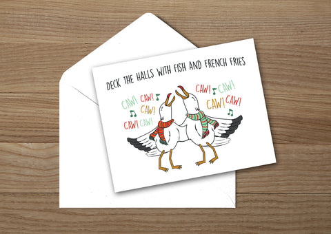 Seagulls and French Fries Christmas Card