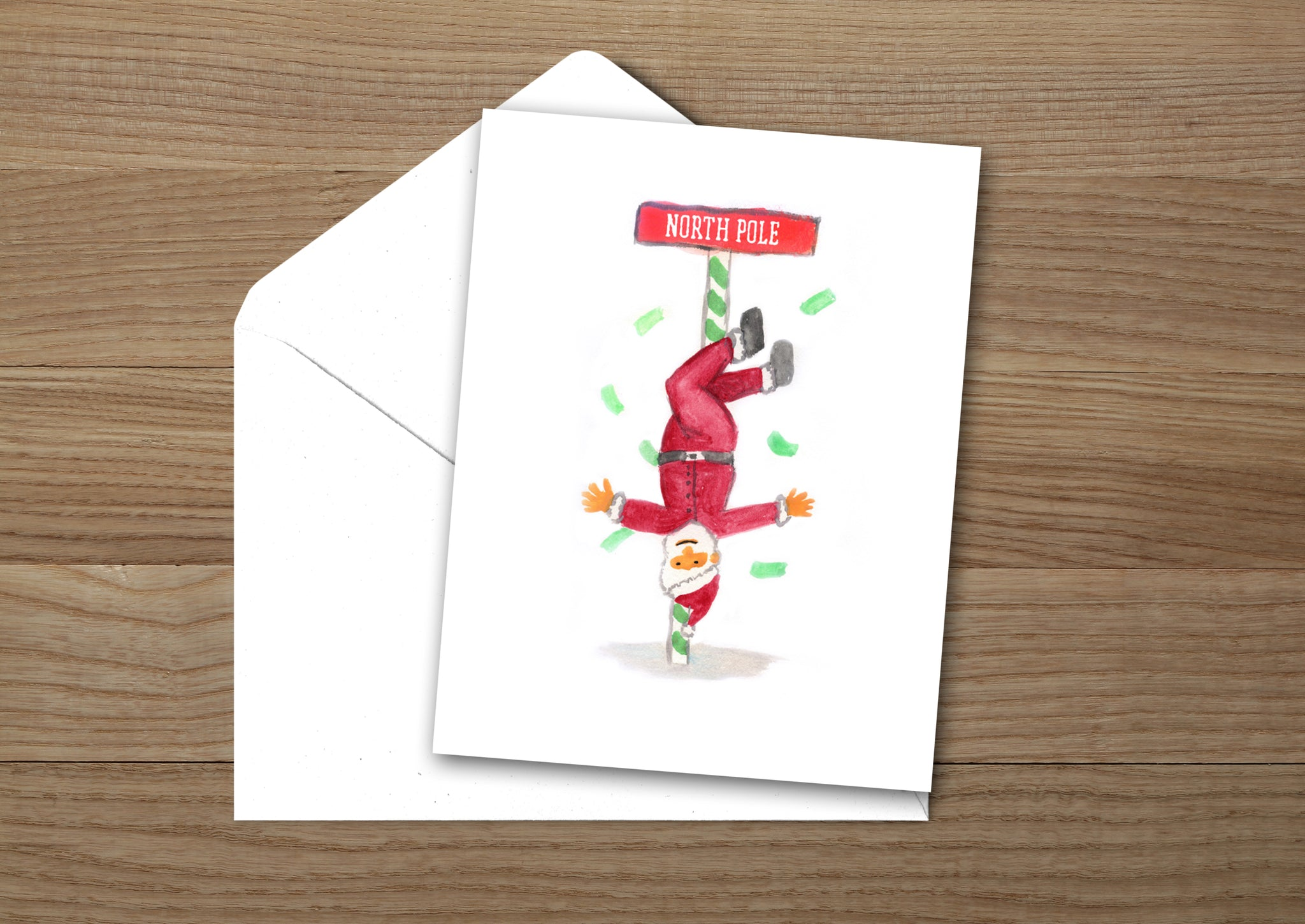 Pole Dancing Santa Christmas Card