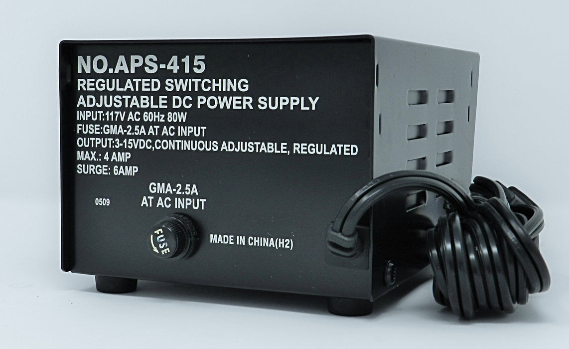 3~15VDC @ 4A DC Regulated Switching Power Supply (BLACK); Part # APS-415