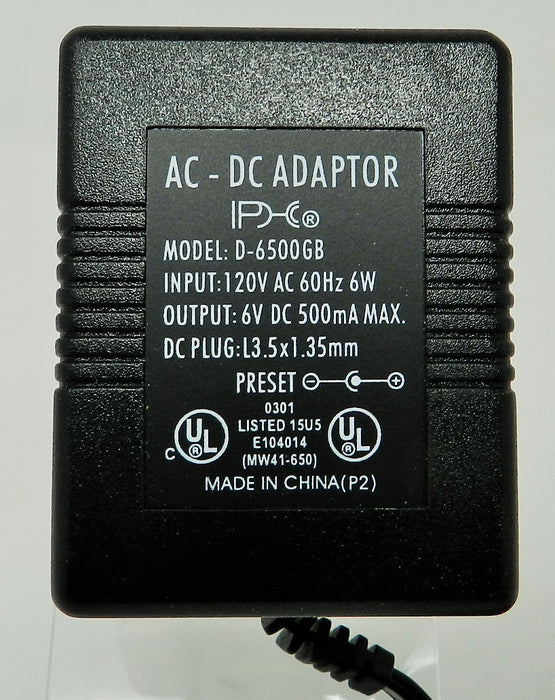 AC-DC Linear Power Supply 6VDC @ 500mA; 1.35 x 3.5mm Positive center polarity; Part # D-6500GB