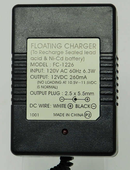 Floating-Smart Charger 12VDC @260mA; 2.5 x 5.5mm (+) center polarity; Part # FC-1226