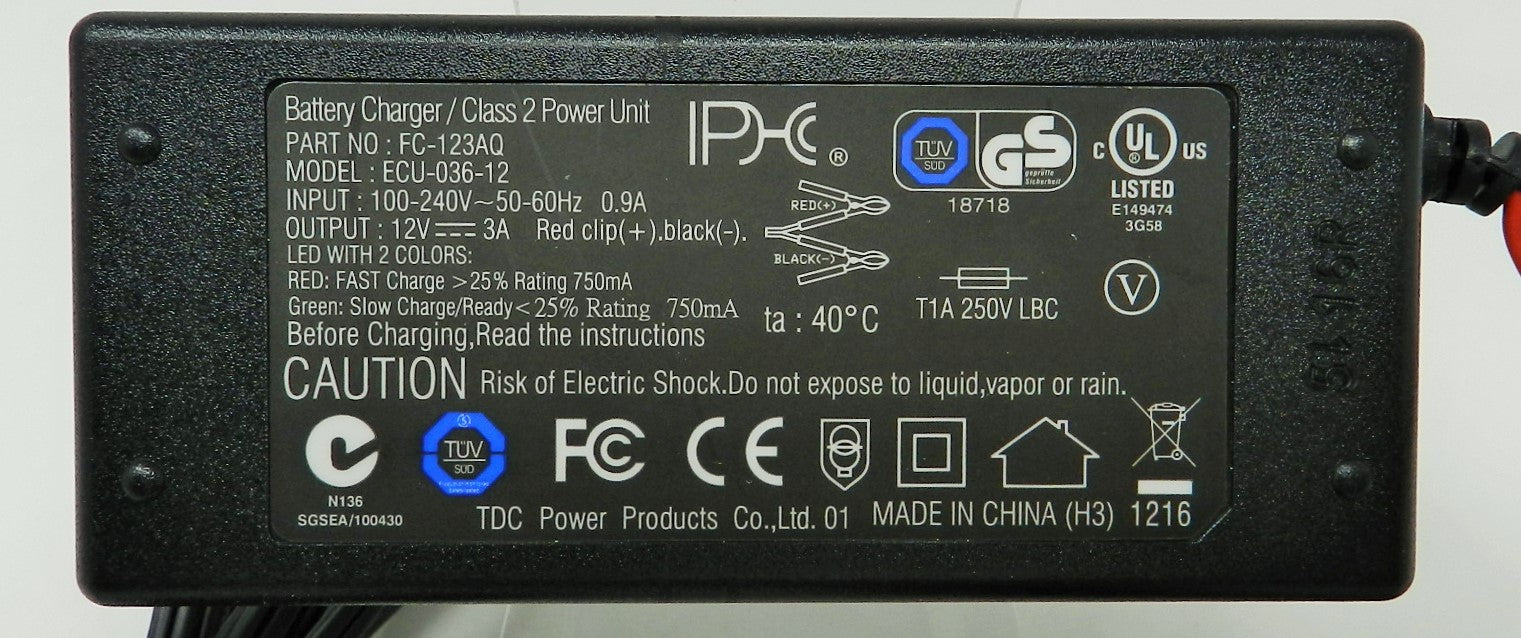 Floating-Smart Charger 12VDC @ 3000mA; Alligator Clips; Part # FC-123AQ