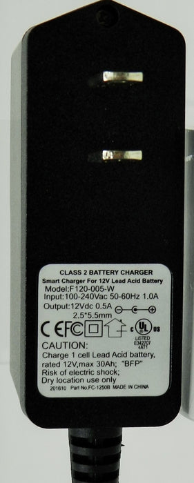 Floating-Smart Charger 12VDC @500mA; 2.5 x 5.5mm (+) center polarity; Part # FC-1250B