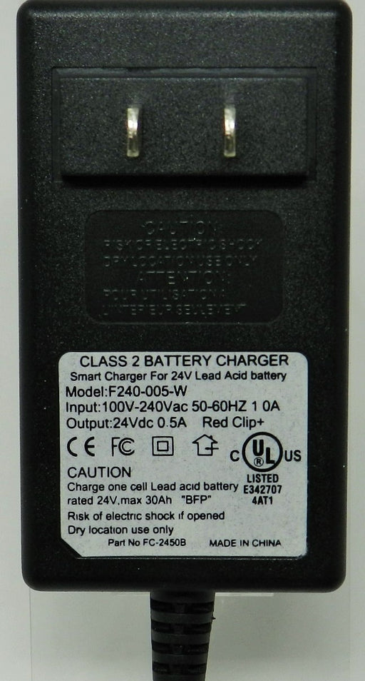 Floating-Smart Charger 24VDC @ 500mA; 2.5 x 5.5mm (+) center polarity; Part # FC-2450B
