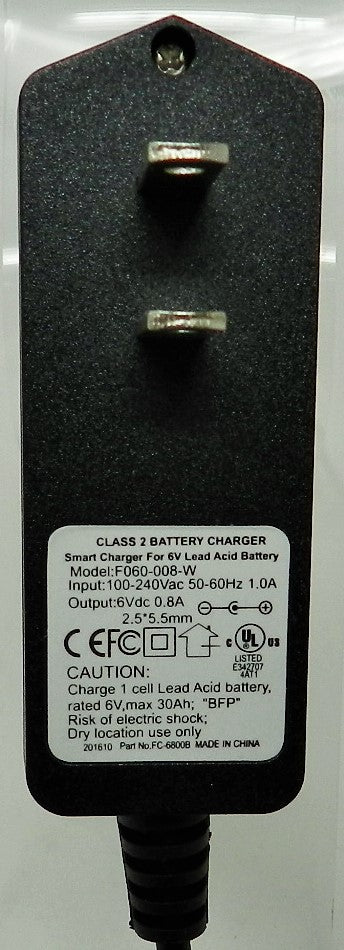 Floating-Smart Charger 6VDC @800mA; 2.5 x 5.5mm (+) center polarity; Part # FC-680B