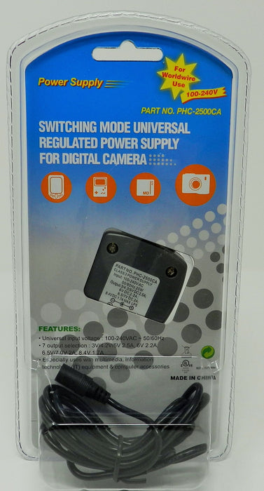 AC-DC Universal Digital Camera Adapter Multi Voltage Output: 3V 4.2V 5V 6V 6.5V 7V 8.4V @ 2500mA; Part # PHC-2500CA