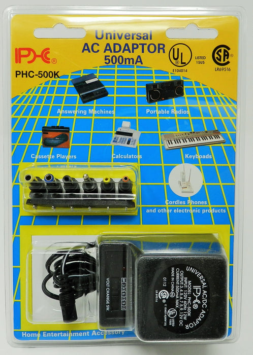 AC-DC Universal Power Adapter Multi Voltage Output: 3.0VDC-12VDC @ 500 mA; 6-plugs; Part #  PHC-500K