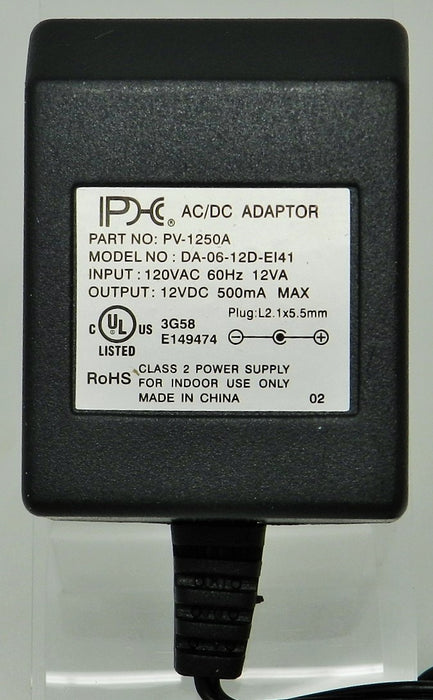 AC-DC Linear Power Supply 12VDC @ 500mA  2.1 x 5.5mm (+) center polarity; Part # PV-1250A