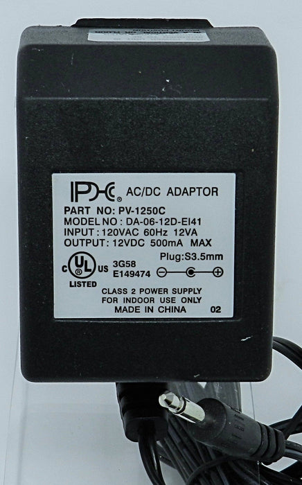 AC-DC Linear Power Supply 12VDC @ 500mA; 3.5 MALE (+) center polarity; Part # PV-1250C
