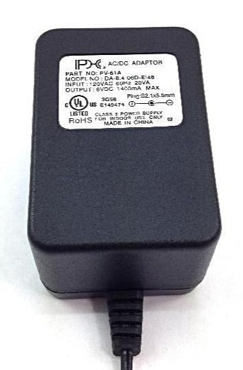 AC-DC Linear Power Supply 6VDC @ 1400mA; 2.1 x 5.5mm NEGATIVE center polarity; Part # PV-61A