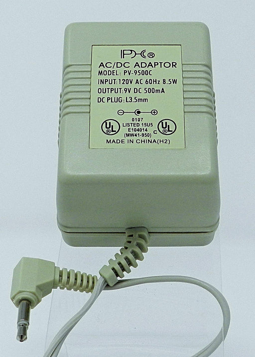 AC-DC Linear Power Supply 9VDC @ 500mA; 3.5 MALE (+) center polarity; Part # PV-9500C