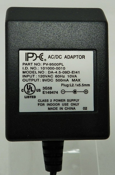 AC-DC Linear Power Supply 9VDC @ 500mA; 2.1 x 5.5mm (+) center polarity; Part # PV-9500PL