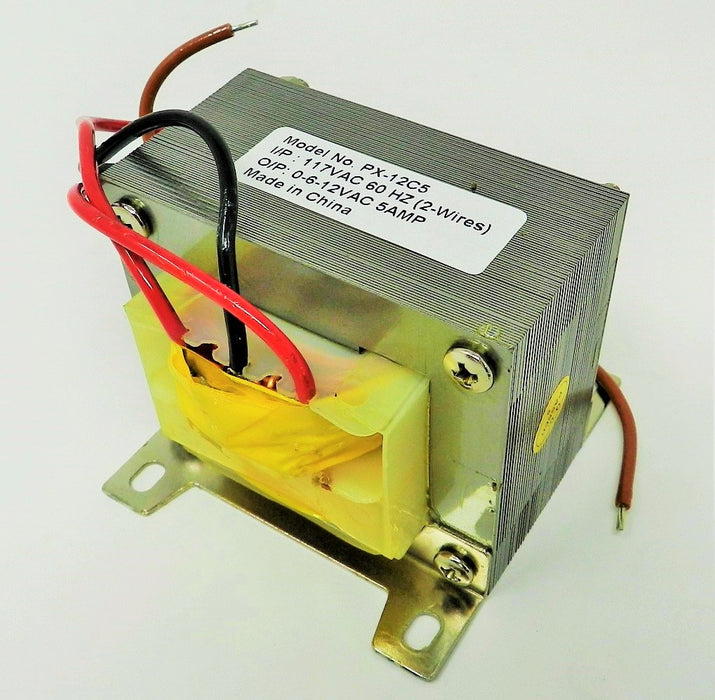 12VCT 12V, 6V Transformer 6V-0-6V CT @ 5A 110VAC to 12VAC 6VAC;  Part #: PX-12C5