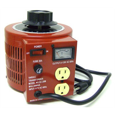 Variable Transformer 20 Amp (2000 Watts); 0~130VAC Output; Part # SC-20M