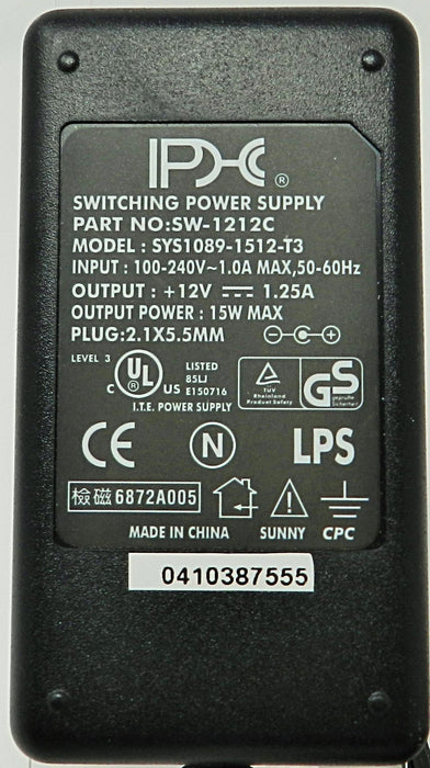 AC-DC Switching Regulated Power Supply 12VDC @ 1250mA; 2.1 x 5.5mm (+) center polarity; Part # SW-1212C