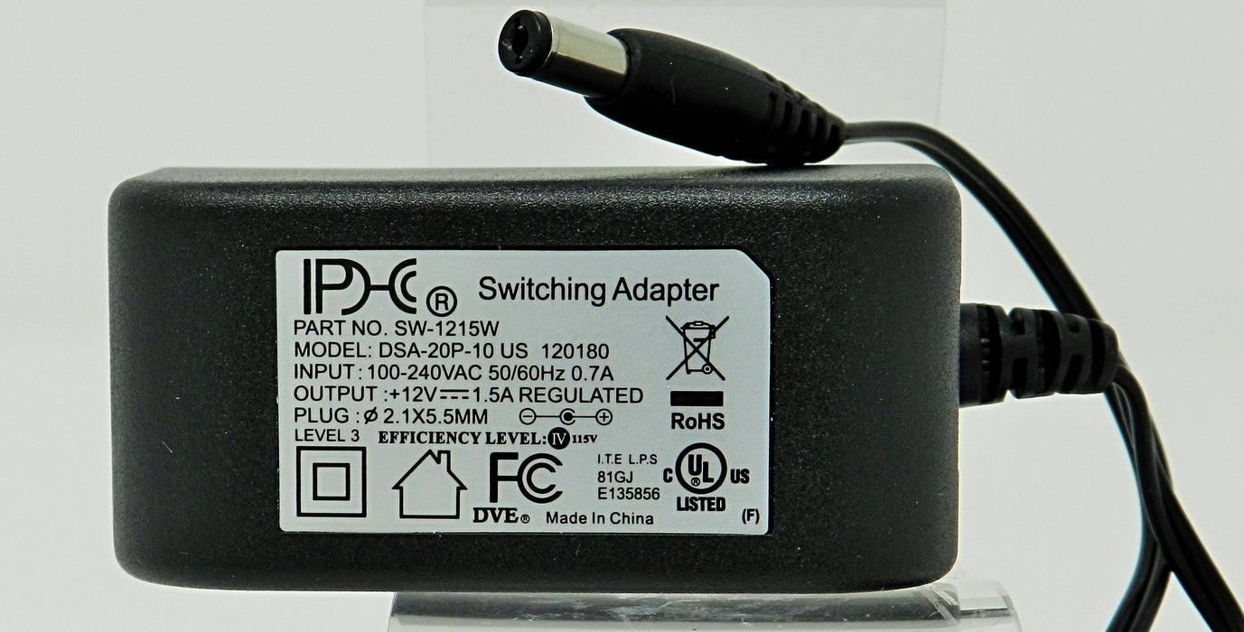 AC-DC Switching Regulated Power Supply 12VDC @ 1500mA; 2.1 x 5.5mm (+) center polarity; Part # SW-1215W
