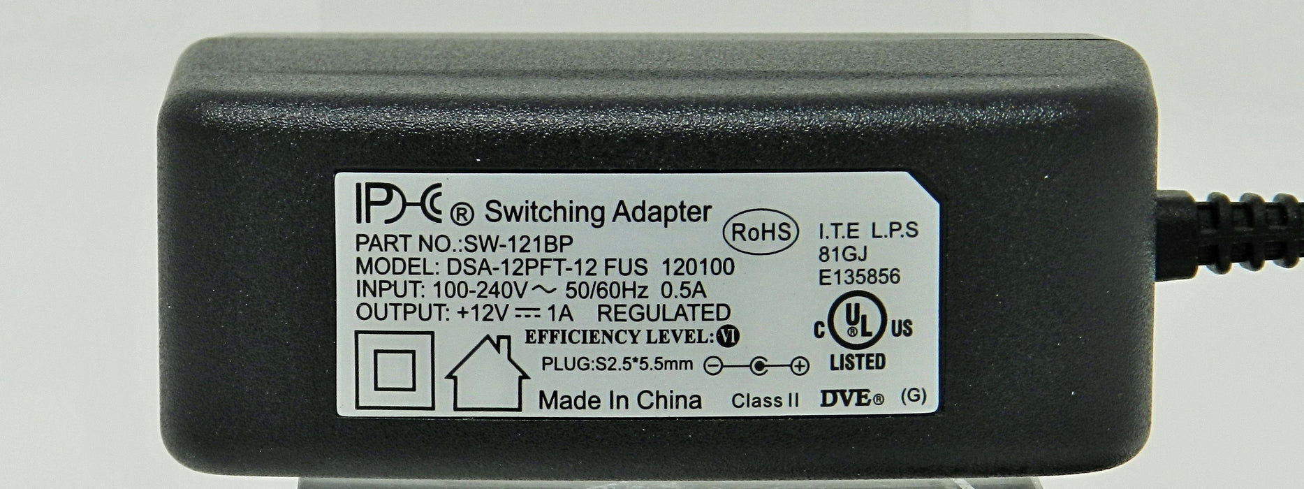 AC-DC Switching Regulated Power Supply 12VDC @ 1000mA; 2.5 x 5.5mm (+) center polarity; Part # SW-121BP